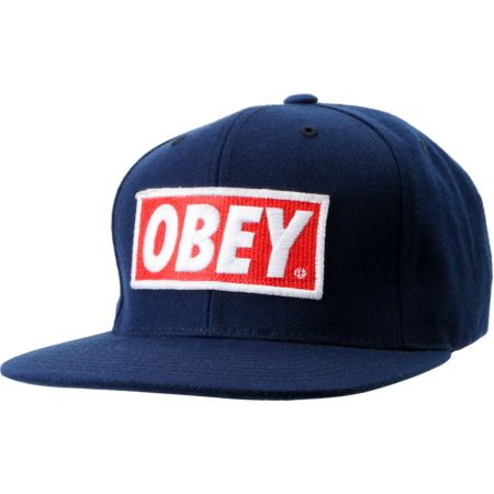 Obey Original Navy Blue Snapback Hat