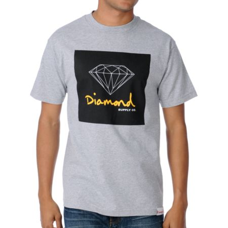 Diamond Supply OG Sign Heather Grey Tee Shirt