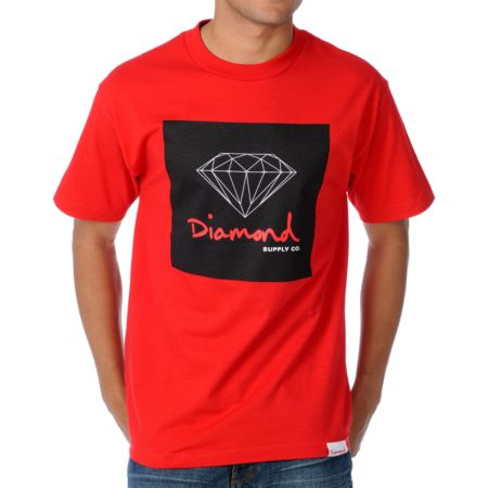 Diamond Supply OG Sign Red Tee Shirt