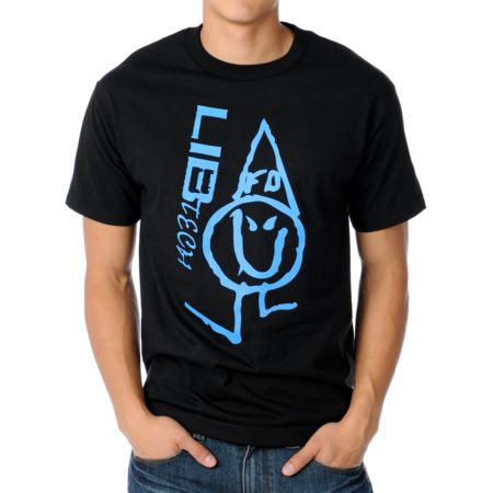 Lib Tech Poly FD Logo Black & Blue Tee Shirt