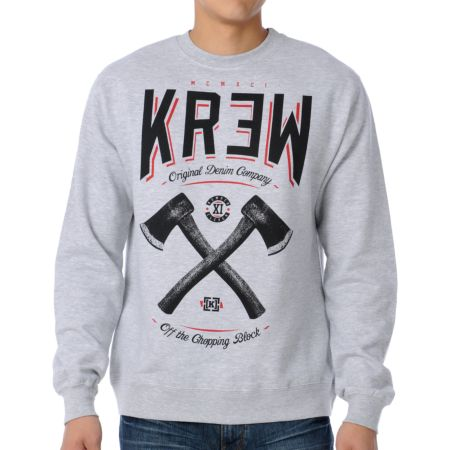 KR3W Chopping Block Heather Grey Crew Neck Sweatshirt
