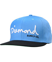 Diamond Supply OG Logo Blue & Black Snapback Hat
