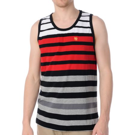 Matix Blockage White, Red, & Black Stripe Knit Tank Top