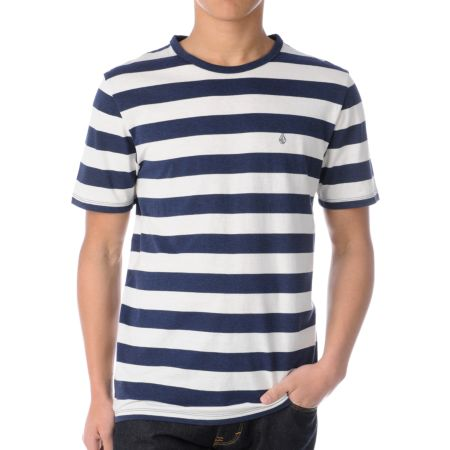Volcom Outercircle Navy Blue Stripe Tri-Blend Tee Shirt