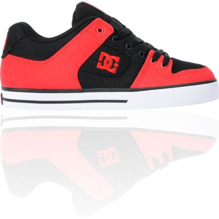 DC Pure TX Red & Black Canvas Skate Shoe