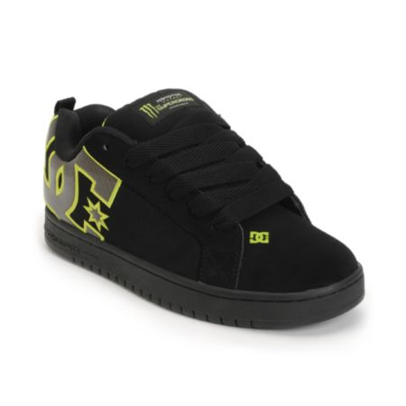 DC x Monster Court Graffik SX Black & Lime Skate Shoe