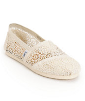 Toms Classics Natural Colored Crochet Women's Slip On Shoe