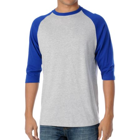 Zine 2nd Inning Grey & Blue Baseball Tee Shirt