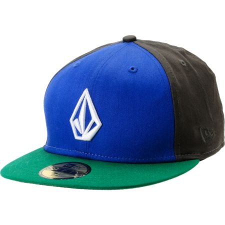 Volcom Full Stone Blue, Green & Charcoal Fitted Hat