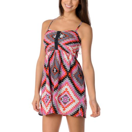 Billabong Davenport Pink Tribal Woven Dress