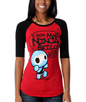 Bitter Sweet Girls Skills & Stuff Red Baseball Tee Shirt