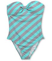 Empyre Girls Colella Turquoise Striped Bandeau Swimsuit