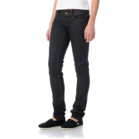 Empyre Girls Hannah Raw Black Skinny Jeans