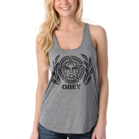 Obey Ivy League Andre Girls Charcoal Racerback Tank Top