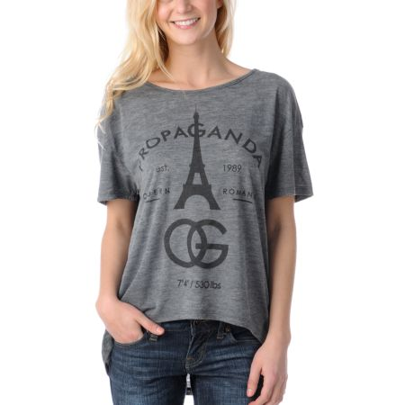 Obey Girls Modern Romance Charcoal Low Back Tee Shirt