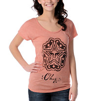 Obey Local Stencil Mock Dolman Red Tee Shirt