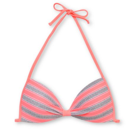 Empyre Girls Variant Coral & Grey Striped Molded Cup Bikini Top