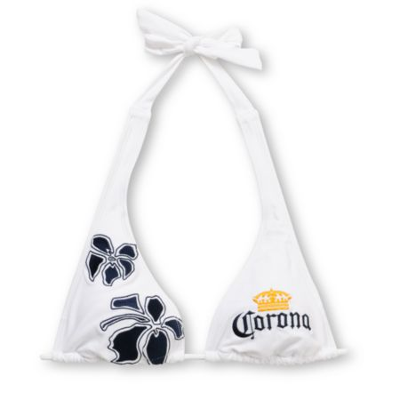 Corona Swim 5 Point White Halter Bikini Top