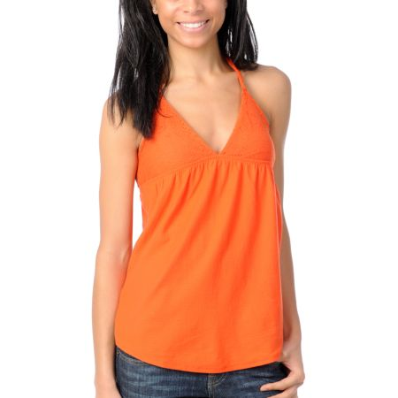 Billabong Girls Fit To Be Tied Coral Tank Top