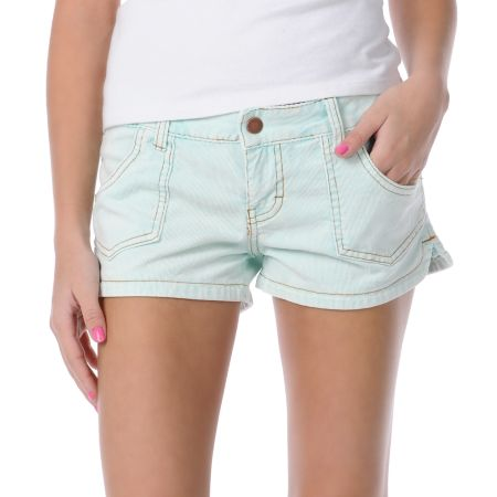 Billabong Girls Walk On Light Blue Corduroy Shorts