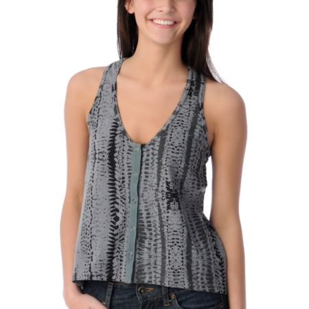 Stussy Girls Badlands Grey Snap Tank Top