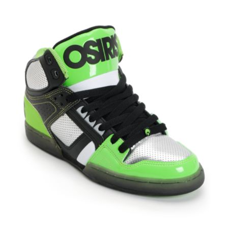 Osiris NYC 83 Black, Gunmetal & Lime High Top Skate Shoe