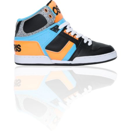 Osiris NYC 83 Black, Orange, & Cyan Guys High Top Skate Shoe