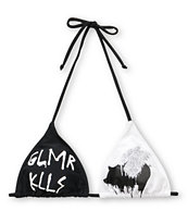 Glamour Kills Glam Logo Black & White Triangle Bikini Top
