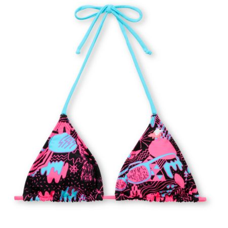 Glamour Kills 80s Glam Turquoise & Pink Triangle Bikini Top