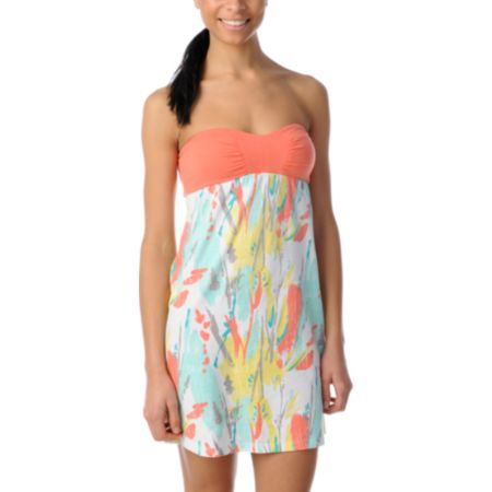 Empyre Girls Naomi Peach Splatter Print Tube Dress