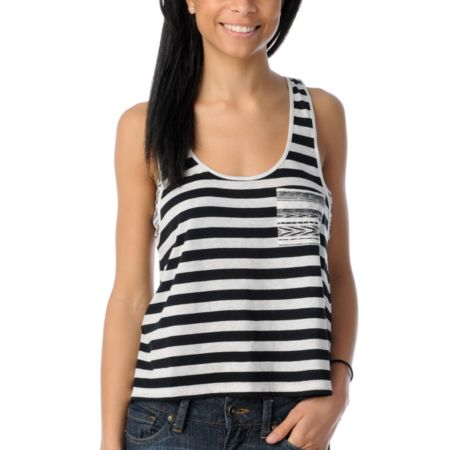 Empyre Girls Magnolia Natural & Black Striped Racerback Tank Top