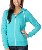 Zine Girls Solid Ceramic Blue Zip Up Hoodie