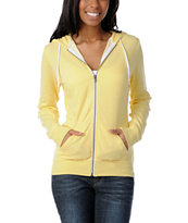 Zine Girls Solid Popcorn Yellow Zip Up Hoodie