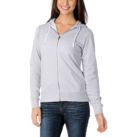 Zine Girls Solid Highrise Grey Zip Up Hoodie