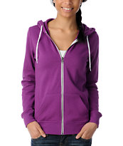 Zine Girls Solid Sparkling Grape Purple Zip Up Hoodie