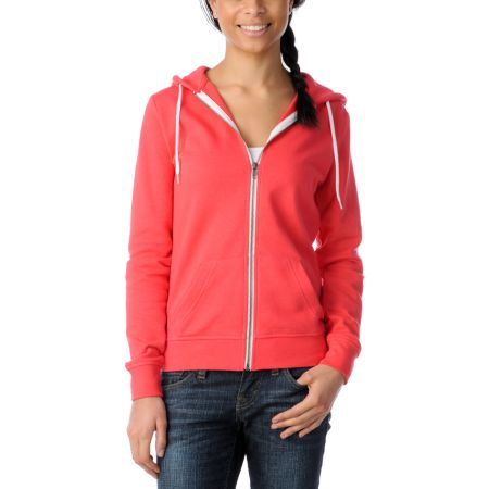 Zine Girls Solid Teaberry Pink Zip Up Hoodie