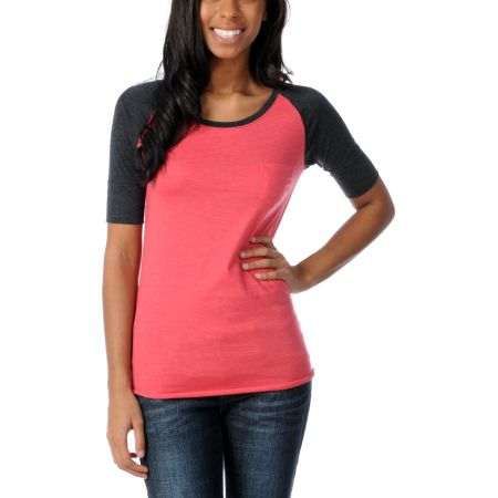 Zine Girls Teaberry Pink & Charcoal Short Sleeve Baseball Tee Shirt