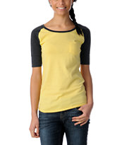 Zine Girls Aspen Gold & Charcoal Short Sleeve Baseball Tee Shirt