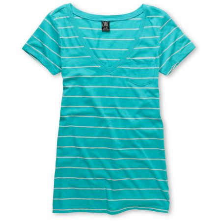 Zine Girls Pastel Blue Striped V-Neck Pocket Tee Shirt