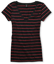 Zine Girls Striped Charcoal & Pink V-Neck Tee Shirt