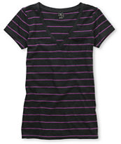 Zine Girls Striped Charcoal & Purple V-Neck Tee Shirt