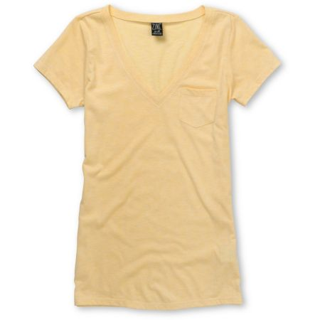 Zine Girls Popcorn Yellow V-Neck Pocket Tee Shirt
