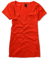 Zine Girls Fire Red V-Neck Tee Shirt