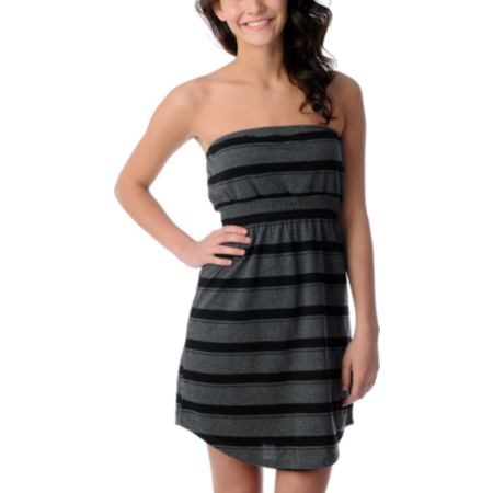 Zine Charcoal & Black Stripe Tube Dress