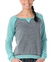 Element Girls Jetta Aqua & Heather Grey Crew Neck Sweatshirt