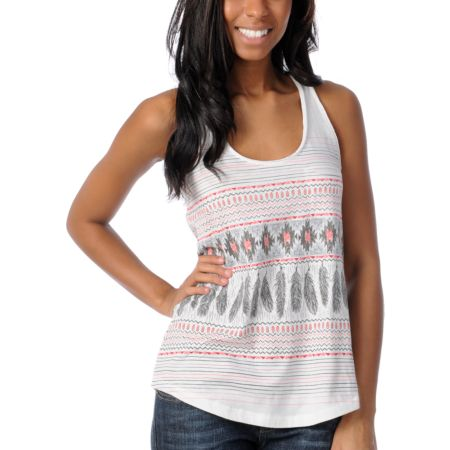 Empyre Girls Casey Native Feather Racerback Tank Top