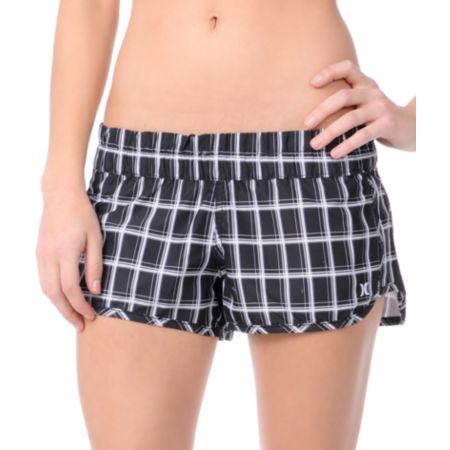 Hurley Girls Black Plaid Super Suede Beachrider Board Shorts