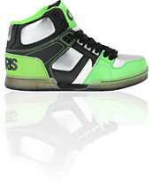 Osiris Kids NYC 83 Black, Gunmetal & Neon Lime Skate Shoe