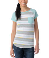 Empyre Green Stripe Petra Cap Sleeve Tee Shirt