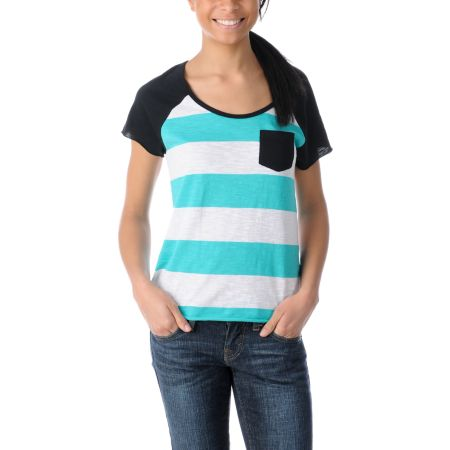 Empyre Girls Tempo Aqua & Black Short Sleeve Baseball Tee Shirt
